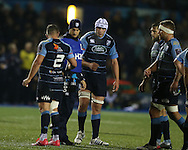The injured Sam Warburton of Cardiff Blues and Wales (in hat) hands out Water drinks to his teammates during the game.European rugby challenge cup match, pool 4, Cardiff Blues v Pau at the BT Sport Cardiff Arms Park in Cardiff, South Wales on Friday 21st October 2016.<br /> pic by Andrew Orchard, Andrew Orchard sports photography.