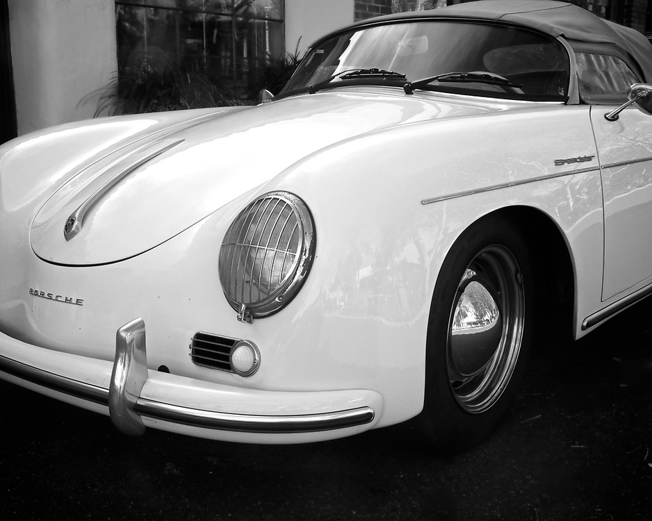 I see this Porsche 356 Cabriolet from time to time parked in Rancho Santa Fe.  I've not met the owner.  To say the car is in original condition is an understatement.  It shows the patina of casual maintenance, complete with rust on the chrome.  That said, it does so proudly and it looks great!