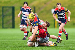 Will Capon of Bristol Academy U18 is tackled by Jack Kenningham of Harlequins Academy U18 - Mandatory by-line: Craig Thomas/JMP - 03/02/2018 - RUGBY - SGS Wise Campus - Bristol, England - Bristol U18 v Harlequins U18 - Premiership U18 League