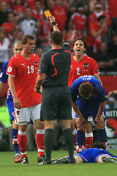 Jurgen Saumel of Austria received yellow card during the UEFA EURO 2008 Group B soccer match between Austria and Croatia at Ernst-Happel Stadium, on June 8,2008, in Vienna, Austria.  (Photo by Vid Ponikvar / Sportal Images)
