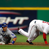 30 May 2007:   Los Angeles Dodgers left fielder Luis Gonzalez (26) slides hard into second base in an attempt to prevent Washington Nationals shortstop Cristian Guzman (15) from completing a double play in the 2nd inning on a ball hit by catcher Russell Martin.  The Dodgers defeated the Nationals 5-0 at RFK Stadium in Washington, D.C.  ****For Editorial Use Only****