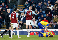 Burnley's Peter Crouch appeals after being penalised for a foul during the Premier League match at Turf Moor, Burnley.