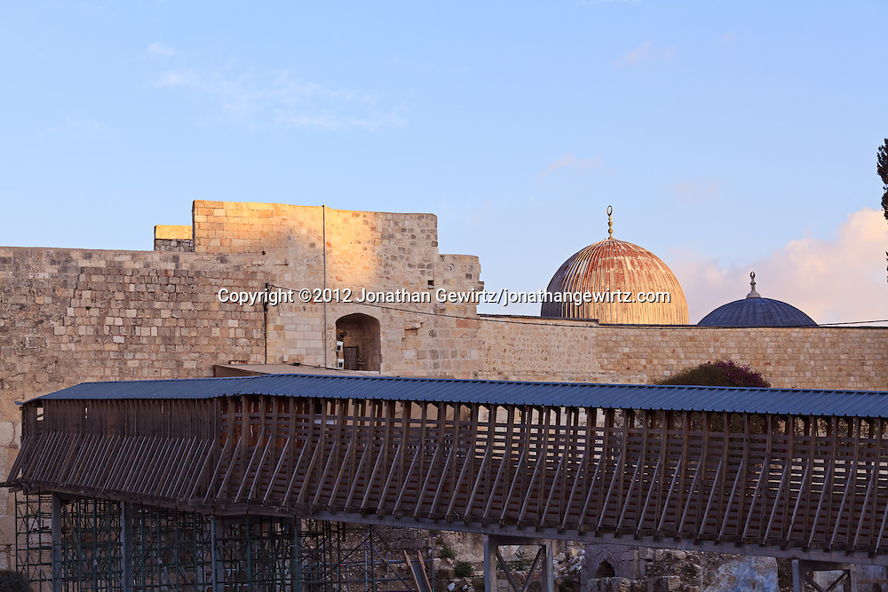 The covered walkway from the Western Wall area to the Temple Mount. WATERMARKS WILL NOT APPEAR ON PRINTS OR LICENSED IMAGES.