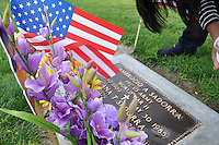 Sara Witt of Salinas cleans the grave of her parents, both immigrants, on Veterans Day at Garden of Memories. Her father served in WWII, and her mother passed away last year.