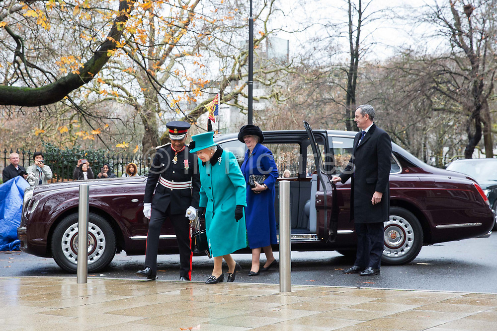 Queen Elizabeth II visits children's charity Coram to open the Queen Elizabeth II centre on 5th December 2018 in London, England. Coram is the UK's oldest childrens charity and was founded by Thomas Coram.