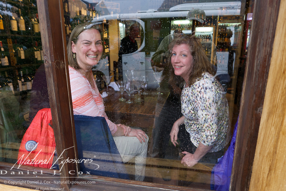 Laura and Lauran enjoying an afternoon wine tasting at the La Vineria wine bar in El Chalten, Argentina. Patagonia
