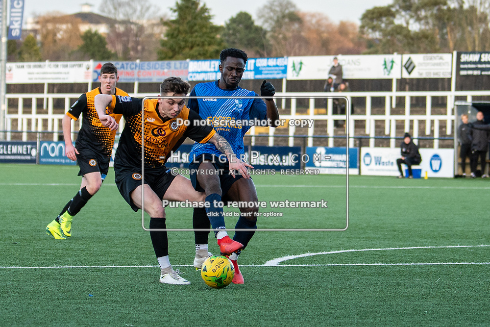 BROMLEY, UK - JANUARY 04: Joel Rollinson, of Cray Wanderers FC, is beaten to the ball during the BetVictor Isthmian Premier League match between Cray Wanderers and Wingate & Finchley at Hayes Lane on January 4, 2020 in Bromley, UK. <br /> (Photo: Jon Hilliger)