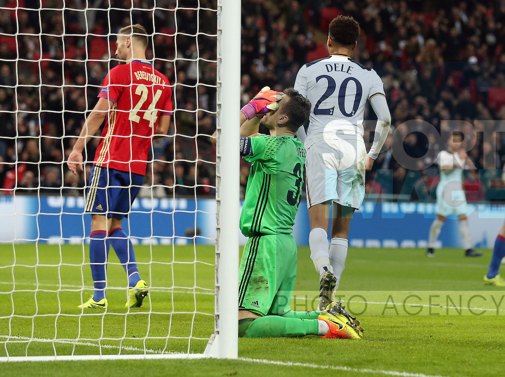 CSKA Moscow's Igor Akinfeev looks on dejected after his own goal puts Tottenham 3-1 up during the Champions League group match at Wembley Stadium, London. Picture date December 7th, 2016 Pic David Klein/Sportimage