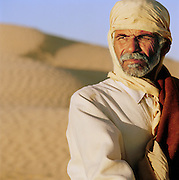A camel trader in the Sahara desert in the south of Tunisia