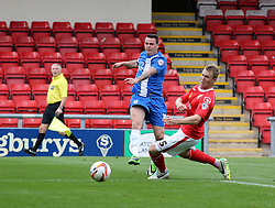 Peterborough United's Lee Tomlin fires at goal  - Photo mandatory by-line: Joe Dent/JMP - Tel: Mobile: 07966 386802 07/09/2013 - SPORT - FOOTBALL -  Alexandra Stadium - Crewe - Crewe Alexandra V Peterborough United - Sky Bet League One