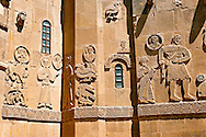 Bas Releif sculptures with scenes from the Bible on the outside of the 10th century Armenian Orthodox Cathedral of the Holy Cross on Akdamar Island, Lake Van Turkey .<br /> <br /> If you prefer to buy from our ALAMY PHOTO LIBRARY  Collection visit : https://www.alamy.com/portfolio/paul-williams-funkystock/lakevanturkey.html<br /> <br /> Visit our TURKEY PHOTO COLLECTIONS for more photos to download or buy as wall art prints https://funkystock.photoshelter.com/gallery-collection/3f-Pictures-of-Turkey-Turkey-Photos-Images-Fotos/C0000U.hJWkZxAbg