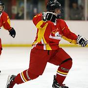Zhang Shuchao, China, celebrates  after scoring during the China V Turkey match which China won 14-0 during the 2012 IIHF Ice Hockey World Championships Division 3 held at Dunedin Ice Stadium. Dunedin, Otago, New Zealand. 19th January 2012. Photo Tim Clayton