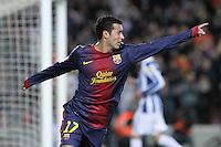 06.01.2013 Barcelona, Spain. La Liga day 18. Pedro after scoring during game between FC Barcelona against RCD Espanyol at Camp Nou