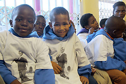July 13, 2016 - Johannesburg, South Africa - Children living in the Nkosi's Haven orphanage wear t-shirts to honor the deceased Nkosi, which depict him during his speech at the World Aids Conference in Durban in 2000, in Johannesburg, South Africa, 13 July 2016. Around 100 children, most of them HIV-positive, are currently living in the orphanage. Photo:Juergen Baetz/dpa (Credit Image: © JüRgen BäTz/DPA via ZUMA Press)