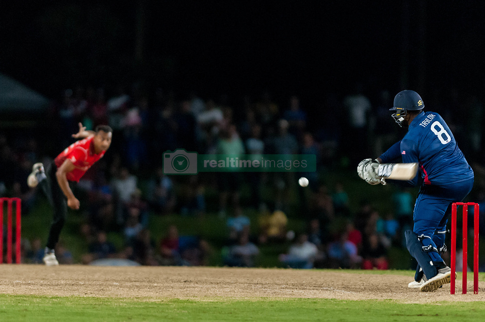 September 22, 2018 - Morrisville, North Carolina, US - Sept. 22, 2018 - Morrisville N.C., USA - Team USA STEVEN TAYLOR (8) in bat as Team Canada CECIL PERVEZ (72) delivers in the Super Over during the ICC World T20 America's ''A'' Qualifier cricket match between USA and Canada. Both teams played to a 140/8 tie with Canada winning the Super Over for the overall win. In addition to USA and Canada, the ICC World T20 America's ''A'' Qualifier also features Belize and Panama in the six-day tournament that ends Sept. 26. (Credit Image: © Timothy L. Hale/ZUMA Wire)
