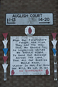 Lincoln Court and Auglish Court Loyalist areas Londonderry. Many loyalist murals about the British Military machine, with images depicting and glorifying  destroyers, tanks and other weapons of war are on display. red, white and blue for the Union Jack. It is a staunch unionist area, fiercely pro-Britain. Their representatives, the Democratic Unionist Party, founded by Ian Paisley in 1971, are presently in parliament in collusion with the conservative party, looking for a hard Brexit with a border between Northern Ireland and the South. The ten DUP votes gives the conservative party its majority in government. This is nothing new. During the 'Troubles' three decades of bloodshed, with Catholic Irish Republican Nationalists seeking to unit Ireland, the pro-British Protestant loyalists wanted to remain part of the United Kingdom.