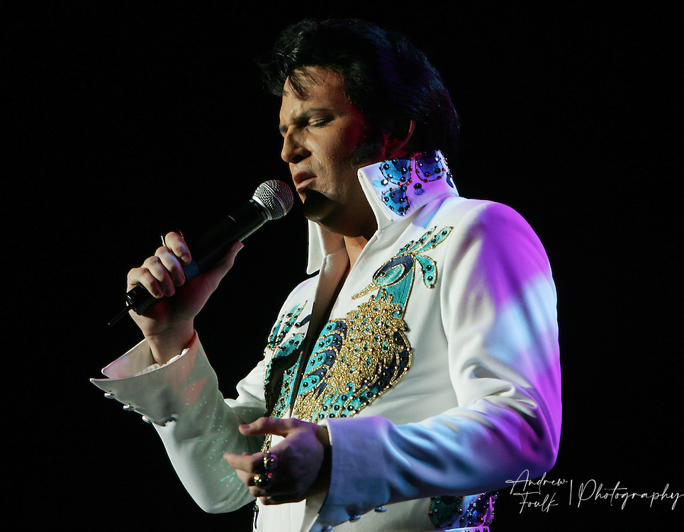Dwight Icenhower sings during his performance at the .Elvis tribute artist contest finals at the Pechanga Resort & Casino Sunday night.