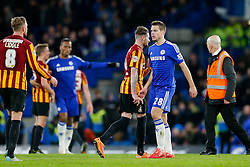 Cesar Azpilicueta of Chelsea looks dejected after Bradford City pull of a remarkable comeback from 2-0 down to win the match 2-4 and progress to the fifth round of the FA Cup - Photo mandatory by-line: Rogan Thomson/JMP - 07966 386802 - 24/01/2015 - SPORT - FOOTBALL - London, England - Stamford Bridge - Chelsea v Bradford City - FA Cup Fourth Round Proper.