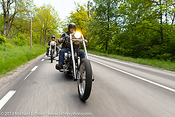 Twin Club member Anders Karlsson riding his 20 inchover Harley-Davidson Evo Swedish style chopper on a Twin Club ride out from the club house in Norrtälje after their annual Custom Bike Show. Sweden. Sunday, June 2, 2019. Photography ©2019 Michael Lichter.