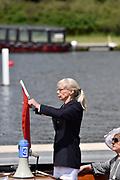 Henley on Thames, England, United Kingdom, 3rd July 2019, Henley Royal Regatta, Umpire Fiona DENNIS, Henley Reach, [© Peter SPURRIER/Intersport Image]<br /> <br /> 11:50:08 1919 - 2019, Royal Henley Peace Regatta Centenary,