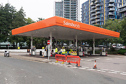 © Licensed to London News Pictures. 25/09/2021. London, UK. A closed Sainsburys supermarket petrol station in Alperton, West London due to the current problems the supply and distribution chain. Companies including BP and Shell have restricted deliveries due to the lack of HGV drivers. Photo credit: Ray Tang/LNP
