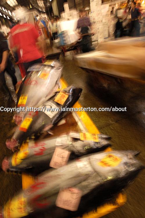 Transporting barrow of fresh tuna at Tsukiji fish Market in Tokyo motion blurr