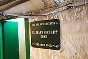 Lascaris War Rooms underground museum, Valletta, Malta - military security zone sign