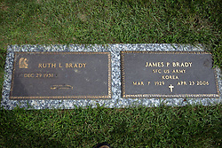 31 August 2017:   Veterans graves in Park Hill Cemetery in eastern McLean County.<br /> <br /> James P Brady  SFC  US Army  Korea  Mar 7 1929  Apr 23 2006
