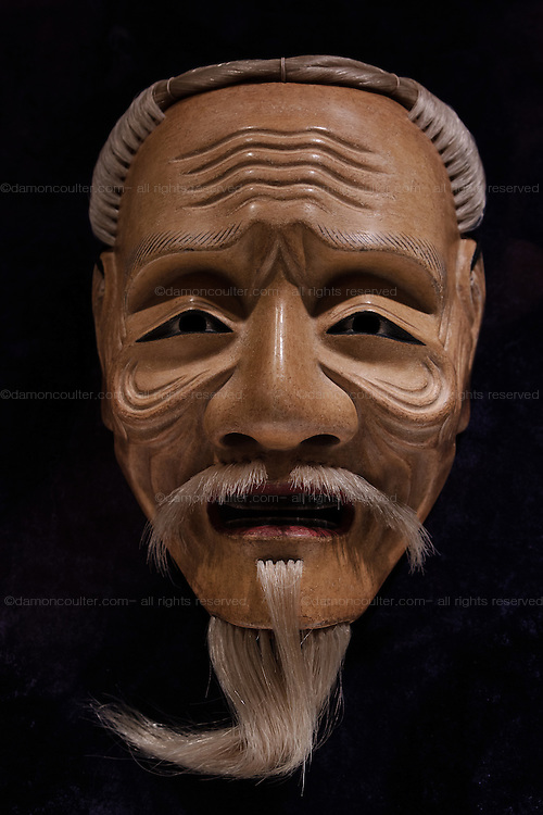 A beareded Noh mask representing anold man on display in the Keio Plaza Hotel in Shinjuku, Tokyo, Japan Friday June 17th 2016