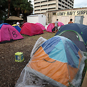 "Tents are seen at ""Camp Romney"", or Romneyville, during the Republican National Convention in Tampa, Fla. on Wednesday, August 29, 2012. (AP Photo/Alex Menendez)"