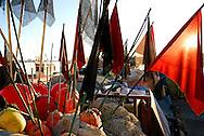 France, Languedoc Roussillon, Hérault, Sète, le vieux port , bouées pour la pêche