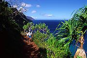 Hiking, Napali Coast, Kauai, Hawaii<br />