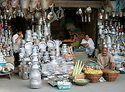 Market stall selling cooking pots and pans in Srinigar, Kashmir, India