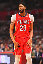 April 9, 2018 - Los Angeles, CA, U.S. - LOS ANGELES, CA - APRIL 09: New Orleans Pelicans Forward Anthony Davis (23) looks on during an NBA game between the New Orleans Pelicans and the Los Angeles Clippers on April 9, 2018 at STAPLES Center in Los Angeles, CA. (Photo by Brian Rothmuller/Icon Sportswire) (Credit Image: © Brian Rothmuller/Icon SMI via ZUMA Press)