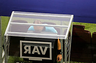 Referee's Nestor Pitana cheks with the VAR ( Video Assistant Referee ) during the 2018 FIFA World Cup Russia, final football match between France and Croatia on July 15, 2018 at Luzhniki Stadium in Moscow, Russia - Photo Tarso Sarraf / FramePhoto / ProSportsImages / DPPI