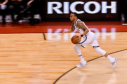 February 11, 2019 - Toronto, Ontario, Canada - Shabazz Napier #13 of the Brooklyn Nets runs with the ball during the Toronto Raptors vs Brooklyn Nets NBA regular season game at Scotiabank Arena on February 11, 2019, in Toronto, Canada (Toronto Raptors win 127-125) (Credit Image: © Anatoliy Cherkasov/NurPhoto via ZUMA Press)