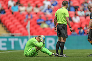 Karl Dryden (Morpeth Town) is down after a challenge during the FA Vase match between Hereford and Morpeth Town at Wembley Stadium, London, England on 22 May 2016. Photo by Mark Doherty.