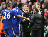 John Terry of Chelsea and Didier Drogba of Chelsea shake hands with former players Paul Scholes an Gianfranco Zola - Barclays Premier League - Liverpool vs Chelsea - Anfield Stadium - Liverpool - England - 8th November 2014  - Picture Simon Bellis/Sportimage