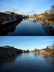 © Licensed to London News Pictures. 27/12/2016. York, UK. Side by side comparison pictures showing York as it is today, December 27, 2016 (TOP), and exactly a year ago today, on December 27, 2015 (BOTTOM) during the middle of severe flooding. Homes and businesses were destroyed in the flooding over the Christmas period last year. Photo credit: Ben Cawthra/LNP