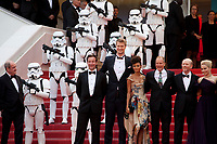 Producer Simon Emanuel,  Joonas Suotamo, actress Thandie Newton, Woody Harrelson, director Ron Howard, actress Emilia Clarke, at the Solo: A Star Wars Story gala screening at the 71st Cannes Film Festival, Tuesday 15th May 2018, Cannes, France. Photo credit: Doreen Kennedy