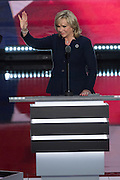 Oklahoma Gov. Mary Fallin addresses delegates on the final day of the Republican National Convention July 21, 2016 in Cleveland, Ohio.