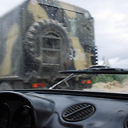 A truck from the Russian peacekeeper forces passing by on a road near Shindisi village in the outskirts of Tskinvali, the capital city of the independent region of South Ossetia in Georgia.