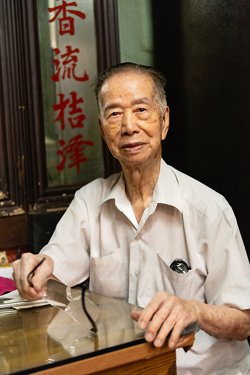 Portrait of elderly Thai man who is a practitioner of Chinese medicine in Thon Buri neighbourhood of Bangkok