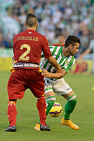 Corcoles (L) and Ruben Castro (R) during the match between Real Betis and Recreativo de Huelva day 10 of the spanish Adelante League 2014-2015 014-2015 played at the Benito Villamarin stadium of Seville. (PHOTO: CARLOS BOUZA / BOUZA PRESS / ALTER PHOTOS)