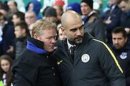 Everton Manager Ronald Koeman and Manchester City Manager Pep Guardiola ®  chat prior to kick off. Premier league match, Everton v Manchester City at Goodison Park in Liverpool, Merseyside on Sunday 15th January 2017.<br /> pic by Chris Stading, Andrew Orchard sports photography.
