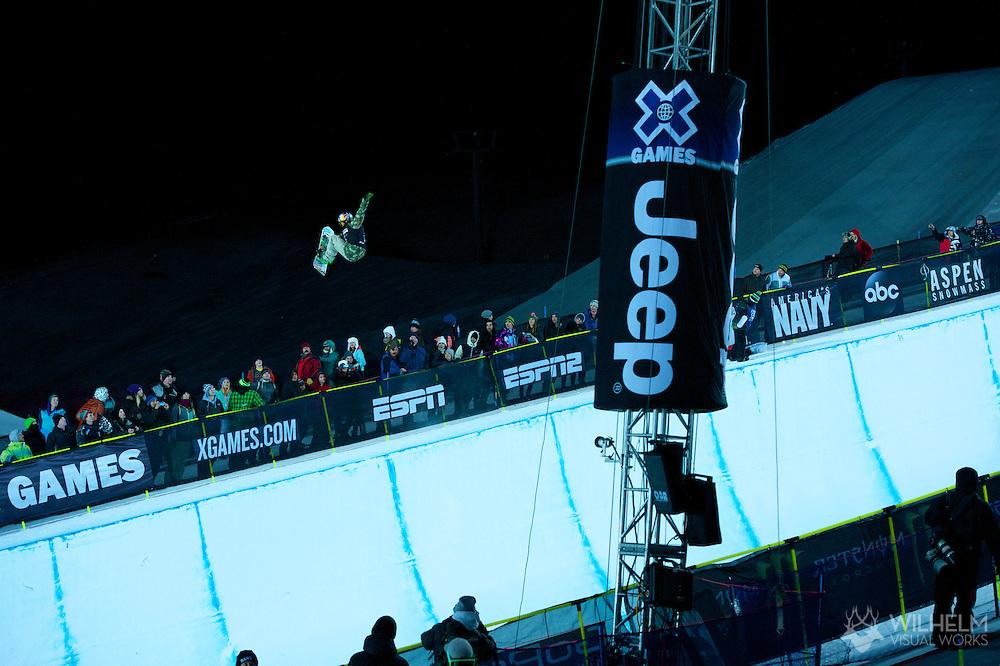 Greg Bretz during Snowboard Superpipe Eliminations at 2014 X Games Aspen at Buttermilk Mountain in Aspen, CO. ©Brett Wilhelm/ESPN