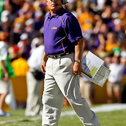 Oct 2, 2010; Baton Rouge, LA, USA; LSU Tigers head coach Les Miles on the field during the first half at Tiger Stadium.  Mandatory Credit: Derick E. Hingle