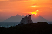 Torre Truglia at sunset in the village of Sperlonga, Italy. Sperlonga is a coastal town in the province of Latina, Italy, about halfway between Rome and Naples.