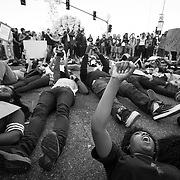 """Protesters on the streets of Los Angeles demonstrating against the decision in Ferguson, Missouri to not indict police officer in the shooting death of unarmed, black teenager Mike Brown. Protesters laid down for 4 1/2 minutes in tribute to Mike Brown laying dead for 4 1/2 hours in the streets. These Photographs And More Are Available in Color. Please Search for """"Ferguson"""""""