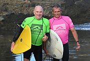 L_R Ben Hutchings and John Gisby. ( Over 60 Mens )<br /> Surfing New Zealand National Championships 2021. Piha Beach, Auckland, New Zealand. Tuesday 12 January 2021.<br /> © image by Andrew Cornaga / www.Photosport.nz